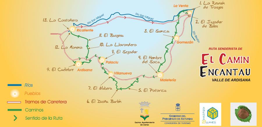 El Camín Encantáu, Wanderweg im Valle de Ardisana, Asturien